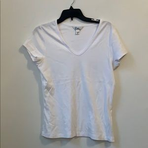 Lilly Pulitzer White V-Neck Tee Large